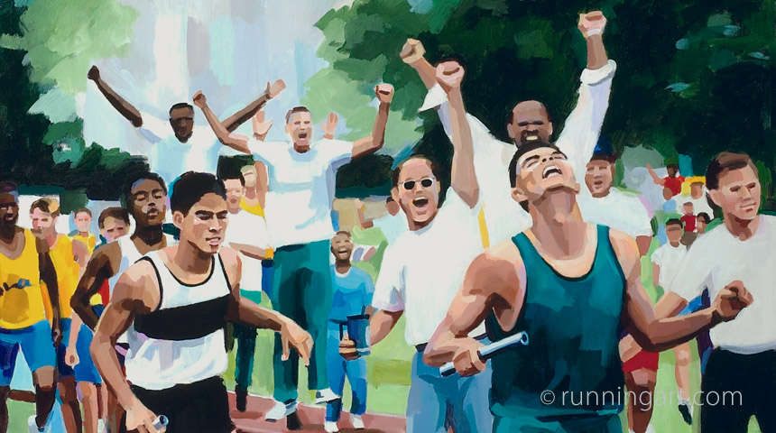 Relay Victory painting by Coreen Steinbach