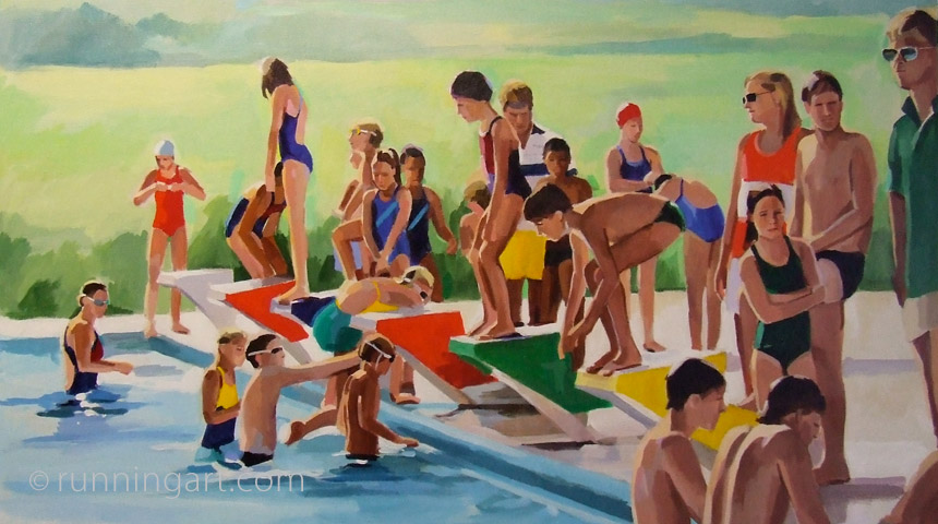 Swim Team painting by Coreen Steinbach, Running Art