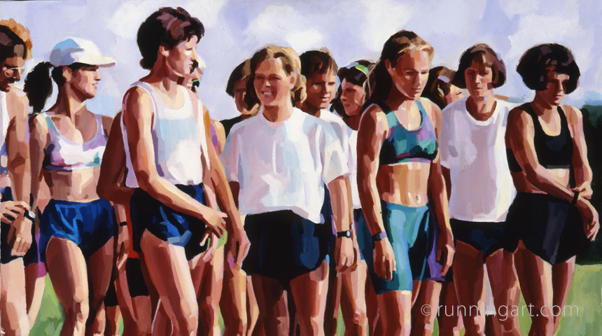 Track Practice painting by Coreen Steinbach, Running Art