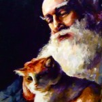 old man with a cat portrait