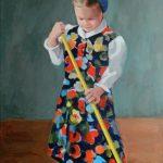 little girl sweeping portrait