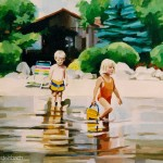 little kids playing in lake portrait