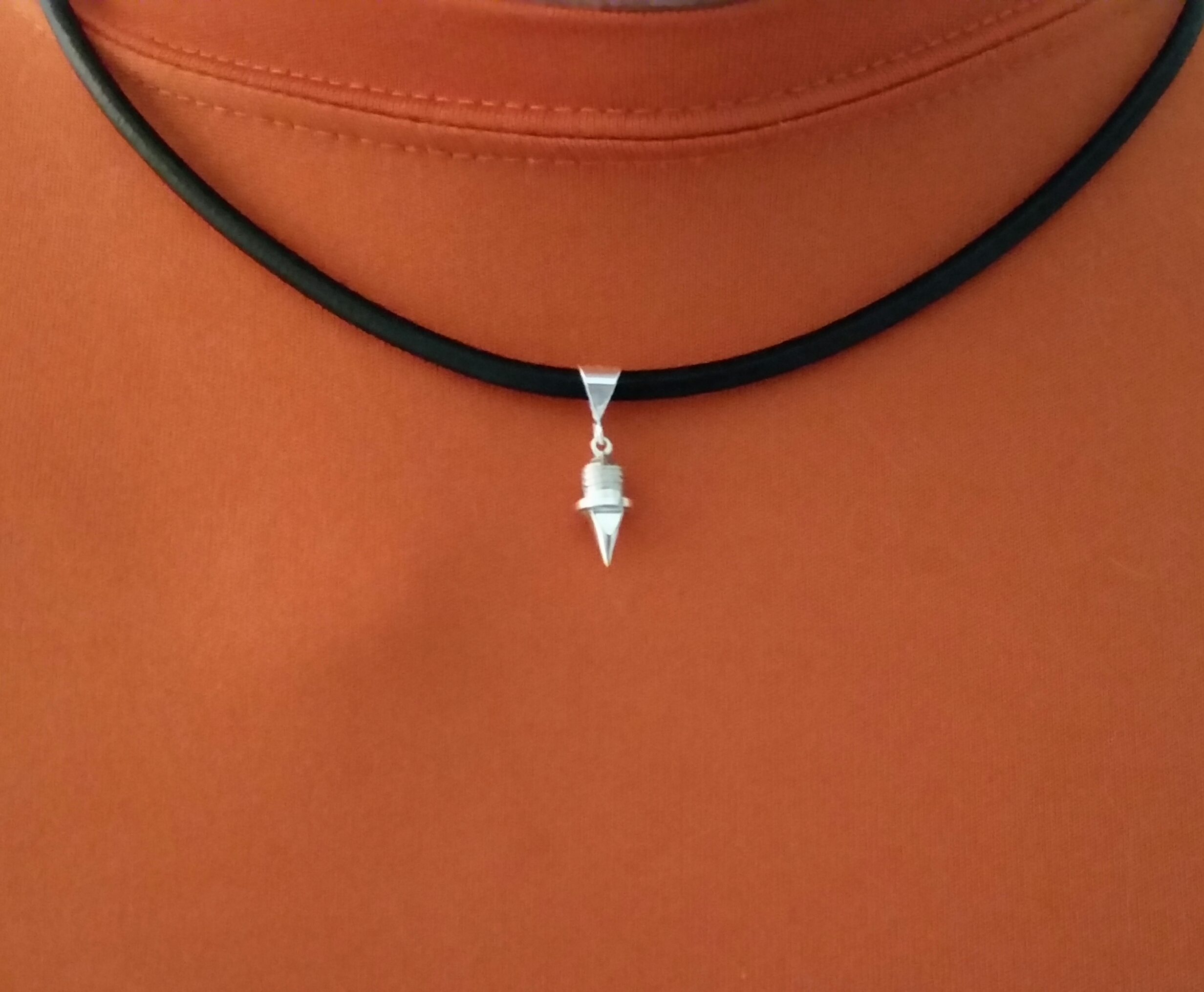 18″ 3mm Leather Choker with Sterling Silver Track Spike Pendant